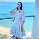 Dress Summer 2021 white 2/S,3/M,4/L,5/XL Mid length dress singleton  elbow sleeve commute Crew neck High waist Solid color Socket A-line skirt bishop sleeve Others Type A Brother amashsin Simplicity Frenulum 5500219-4A09361-001 More than 95% cotton