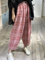 Casual pants Green, pink, yellow Average size Summer 2020 Ninth pants Haren pants High waist commute routine 96% and above PS7515 Other / other hemp literature hemp
