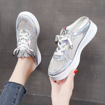 slipper 35 36 37 38 39 40 Zhanyan Muffin bottom Middle heel (3-5cm) PU Summer 2021 Baotou polyurethane daily Korean version Adhesive shoes Youth (18-40 years old) Solid color Cross strapping muffin and waterproof platform PU PU Shaving Pure e-commerce (online only)