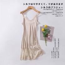 Dress Summer 2020 Black, white, skin color, bean paste powder M,L,XL Solid color Socket Other / other