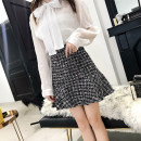 skirt Autumn of 2018 S,M,L,XL White, black Short skirt commute High waist Ruffle Skirt lattice Type A 18-24 years old 51% (inclusive) - 70% (inclusive) Wool cotton Splicing Korean version