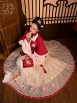 Hanfu 96% and above Red square collar, half arm, stand collar, short jacket, horse face skirt S spot, m spot, l spot polyester fiber
