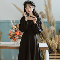 Dress Spring 2021 Black regular, bean green regular, jujube red regular, blue regular, black plush, bean green plush, jujube red plush, Blue Plush XL,M,L,S Mid length dress singleton  Long sleeves commute square neck High waist Solid color Socket A-line skirt other Others 18-24 years old Type A