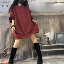 Dress Autumn of 2019 Average size Mid length dress Long sleeves Crew neck routine 30-34 years old Su Qian (clothing) 81% (inclusive) - 90% (inclusive) cotton Cotton 89.3% polyester 10.7%