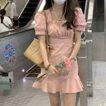 Dress More than 95% other Other 100% Pure e-commerce (online sales only) Summer 2021 Short skirt Short sleeve commute square neck puff sleeve 18-24 years old High waist Pleated skirt 2021050901 Other Korean version Yin anzhen S M L XL