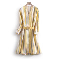Dress Spring 2021 Blue yellow stripe S,M,L,XL Mid length dress singleton  Long sleeves commute V-neck middle-waisted stripe Socket other routine Others 25-29 years old Type X Other / other Korean version LKK29071 More than 95% polyester fiber