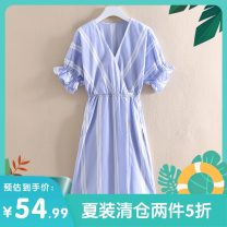 Dress Summer 2020 Blue and white stripes S,M,L Mid length dress singleton  Short sleeve commute V-neck Elastic waist Solid color Socket routine Others 25-29 years old Other / other Korean version M9B9007-1 31% (inclusive) - 50% (inclusive) other