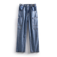 Jeans Spring 2021 Denim blue S,M,L trousers Natural waist Straight pants routine 25-29 years old other LKK37801 Other / other 96% and above