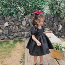 Dress black female Other / other 90cm,100cm,110cm,120cm,130cm,140cm Other 100% summer Korean version Short sleeve Solid color other A-line skirt Class B 7 years old, 8 years old, 3 years old, 6 years old, 18 months old, 2 years old, 5 years old, 4 years old Chinese Mainland