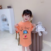 Dress White, orange female Other / other 90 (80-90cm), 100 (90-100cm), 110 (100-110cm), 120 (110-120cm), 130 (120-130cm), 140 (130-140cm) Cotton 90% other 10% summer fresh Short sleeve Cartoon animation cotton other Class B Chinese Mainland