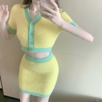 Fashion suit Summer 2020 Average size Yellow top + yellow skirt Make up wadding Polyester 85% other 15% Pure e-commerce (online only)