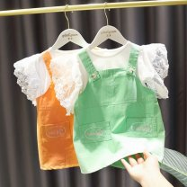 suit Other / other Green one set (back belt skirt) + Top) , An orange dress + Top) 80cm,90cm,100cm,110cm,120cm,130cm female summer princess Short sleeve + pants 2 pieces routine Socket nothing Solid color other children Expression of love Class B Other 100% Chinese Mainland