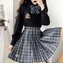 skirt Summer 2020 XS,S,XL [xingyuekui] 42cm, [xingyuekui] 45cm, [xingyuekui] 48CM, [xingyuekui] bow tie Mid length dress Versatile Natural waist Pleated skirt stripe Type A 18-24 years old Fold, button, zipper