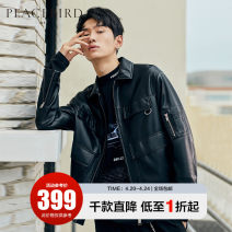 Jacket Peacebird Youth fashion Black black 1 S M L XL XXL XXXL XXXXL routine easy Other leisure Four seasons Other 100% Long sleeves Wear out Lapel tide youth routine Zipper placket Cloth hem Closing sleeve Solid color PU leather Winter of 2019 More than two bags) Digging bags with lids other