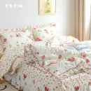 Bedding Set / four piece set / multi piece set cotton other Plants and flowers 133x72 HRHM cotton 4 pieces 40 Bed sheet, bed skirt Qualified products Countryside 100% cotton twill Reactive Print