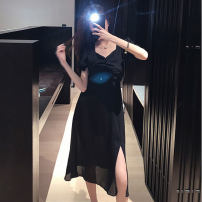 Dress Summer 2020 black S M L XL longuette singleton  Short sleeve commute square neck High waist Solid color zipper A-line skirt puff sleeve Others 18-24 years old Type A Beiyiwei Korean version Pleating More than 95% other other Other 100% Pure e-commerce (online only)