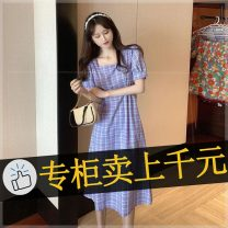 Dress Spring 2021 Yellow, purple XL,L,M,S longuette singleton  Short sleeve commute V-neck High waist Solid color other Princess Dress Flying sleeve Others 25-29 years old Type A Korean version LBX-3152106_ 0c6 other