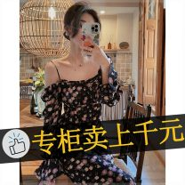 Dress Summer 2021 Black floral dress, pink floral dress XL,L,M,S longuette singleton  Short sleeve commute stand collar High waist Solid color Socket A-line skirt routine Others 18-24 years old Korean version printing 85865_ v9h More than 95% Chiffon polyester fiber
