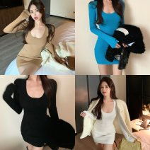 Dress Winter 2020 White, black, blue, coffee, pantyhose Average size longuette singleton  Long sleeves commute High waist Solid color Socket A-line skirt routine 18-24 years old Type A Korean version 99511# 31% (inclusive) - 50% (inclusive) other