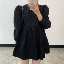 Dress Spring 2021 White, black, sling S,M,L singleton  Long sleeves commute Crew neck High waist Solid color 18-24 years old Other Korean version