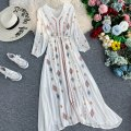 Dress Autumn 2020 White, base coat S,M,L,XL,2XL longuette singleton  Long sleeves commute V-neck High waist Solid color Socket Big swing bishop sleeve Others 18-24 years old Type A Korean version Bowknot, embroidery, lace, stitching, asymmetry 31% (inclusive) - 50% (inclusive) other other