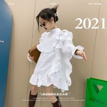 Dress female Other / other Other 100% commute Long sleeves Solid color cotton Lotus leaf edge 2, 3, 4, 5, 6, 7, 8, 9, 10, 11, 12, 13, 14 years old