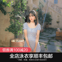 one piece  OMOM M L XL XXL Light blue Skirt one piece With chest pad without steel support KB29608 Summer of 2019 female Short sleeve Casual swimsuit