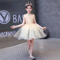 Children's dress Pink red picture Gold Black female 100cm 110cm 120cm 130cm 140cm 150cm 160cm 161cm or above can be customized size, does not support return Mido house full dress M2020-2 Class B polyester fiber Polyester 100% Summer 2020 princess