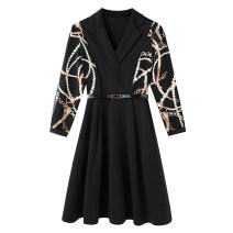 Women's large Spring 2021 black Large L, large XL, 2XL, 3XL, 4XL, 5XL Dress singleton  commute Self cultivation moderate Socket Long sleeves Solid color Korean version V-neck Three dimensional cutting routine 30-34 years old Three dimensional decoration Middle-skirt