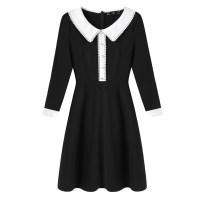 Women's large Spring 2021 black Large L, large XL, 2XL, 3XL, 4XL Dress singleton  commute Self cultivation moderate Socket Long sleeves Solid color Korean version Polo collar Three dimensional cutting routine 30-34 years old Three dimensional decoration Middle-skirt