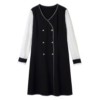 Women's large Spring 2021 black Large L, large XL, 2XL, 3XL, 4XL Dress singleton  commute Self cultivation moderate Socket Long sleeves Solid color Korean version V-neck Three dimensional cutting routine 30-34 years old Three dimensional decoration Middle-skirt
