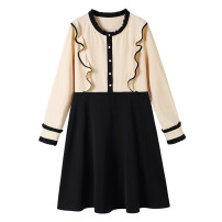 Women's large Spring 2021 Dress Large L, large XL, 2XL, 3XL, 4XL Dress singleton  commute Self cultivation moderate Socket Long sleeves Solid color Korean version Crew neck Three dimensional cutting routine 30-34 years old Three dimensional decoration Middle-skirt