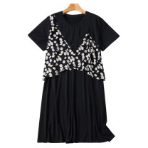 Women's large Summer 2021 black Large L, large XL, 2XL, 3XL, 4XL, 5XL Dress singleton  commute easy moderate Socket Short sleeve Solid color Korean version Crew neck Three dimensional cutting routine 30-34 years old Three dimensional decoration Medium length