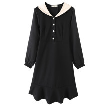 Women's large Spring 2021 black Large XL, 2XL, 3XL, 4XL, 5XL Dress singleton  commute Self cultivation moderate Socket Long sleeves Korean version V-neck Three dimensional cutting routine 30-34 years old Three dimensional decoration Middle-skirt other
