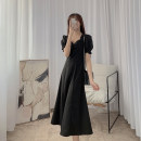 Dress Summer 2021 black S,M,L Middle-skirt singleton  Short sleeve commute V-neck High waist Solid color A-line skirt routine Others Type A 21319SK-LYQ4189 More than 95%