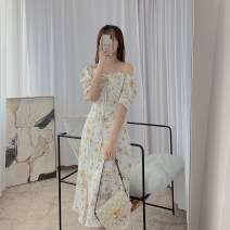 Dress Summer 2021 white S, M Mid length dress singleton  Short sleeve commute Crew neck High waist Broken flowers A-line skirt puff sleeve Others Type A 21408W-LYQ51028 More than 95% other
