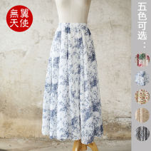 skirt Summer of 2019 Average size longuette Retro Natural waist Umbrella skirt Decor Type A cotton printing