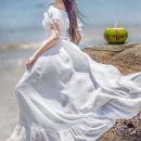 Dress Summer of 2019 White, black, orange S,M,L,XL longuette One word collar Lotus leaf sleeve Chiffon