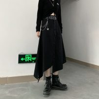 skirt Autumn 2020 S,M,L black Mid length dress commute High waist Irregular Solid color Type A 18-24 years old More than 95% Korean version