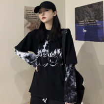 T-shirt black Average size Autumn of 2019 Long sleeves Crew neck Fake two pieces Regular routine commute cotton 96% and above 18-24 years old Retro Letters, stitching Other / other Printing, splicing