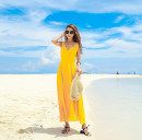 Dress Summer 2021 yellow S,M,L,XL,2XL longuette singleton  Sleeveless Sweet V-neck High waist Solid color Socket Big swing other Others 25-29 years old Type A Open back, lace up, bandage, zipper Chiffon Bohemia
