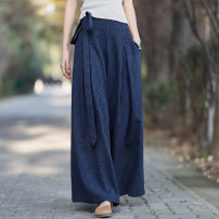 Casual pants Black, red, Burgundy, dark green, navy Average size Spring of 2019 Wide leg pants Natural waist commute routine 31% (inclusive) - 50% (inclusive) Other / other hemp Retro hemp