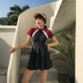 one piece  Tao Yaoyao M,L,XL,XXL Black, red Skirt one piece With chest pad without steel support Nylon, spandex, polyester, others female Short sleeve Casual swimsuit