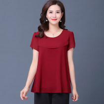 Middle aged and old women's wear Summer of 2018 XXXXL XXXXXL L XL XXL XXXL Wine red purple blue orange leisure time T-shirt easy singleton  Solid color 40-49 years old Socket thin Crew neck routine routine Eight hundred and twenty Other / other Lotus leaf edge Chiffon A button Short sleeve Pant other