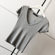T-shirt Khaki, grey, black, white, brick red S, M Summer of 2019 Short sleeve V-neck Self cultivation have cash less than that is registered in the accounts routine street cotton 86% (inclusive) -95% (inclusive) other Solid color thread Europe and America