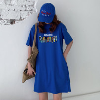Dress Summer 2021 Black purple red light gray white yellow color blue denim blue dark gray pink Avocado Green Orange M L XL 2XL Middle-skirt singleton  Short sleeve commute Crew neck Loose waist Solid color Socket routine Others 18-24 years old Weimei (clothing) Korean version other cotton