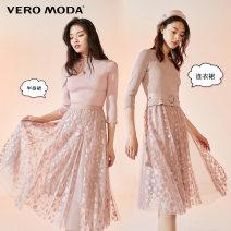 Dress Spring 2021 C15 spot ratio Pink - dress E39 dark blue - dress S79 silver grey - dress C15 spot ratio Pink - skirt E39 dark blue - skirt S79 silver grey - skirt 155/76A/XS 160/80A/S 165/84A/M 170/88A/L 175/92A/XL Mid length dress singleton  three quarter sleeve Sweet V-neck middle-waisted Dot