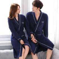 Nightgown / bathrobe Other / other lovers Women's M, women's L, women's XL, women's XXL, women's 3XL, men's L, men's XL, men's XXL, men's 3XL, men's 4XL X8651 robe, x8652 robe, x8666 robe, x9681 robe, x9682 robe, x9683 robe, x9685 robe, x9686 robe, x9684 robe routine Sweet cotton autumn More than 95%
