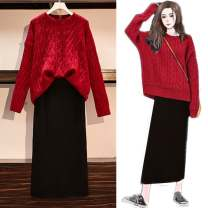 Dress Winter 2020 Red sweater one size fits all, white sweater one size all, black skirt, red sweater + black skirt, white sweater + black skirt S,M,L,XL Mid length dress Two piece set Long sleeves commute Crew neck High waist Solid color Socket routine 18-24 years old Korean version