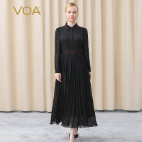 Dress Winter 2020 155/S 160/M 165/L 170/XL 175/XXL 180/XXXL Mid length dress singleton  Long sleeves commute Polo collar Loose waist other Single breasted Pleated skirt shirt sleeve Others 35-39 years old Type H VOA lady More than 95% Silk and satin silk Mulberry silk 100%